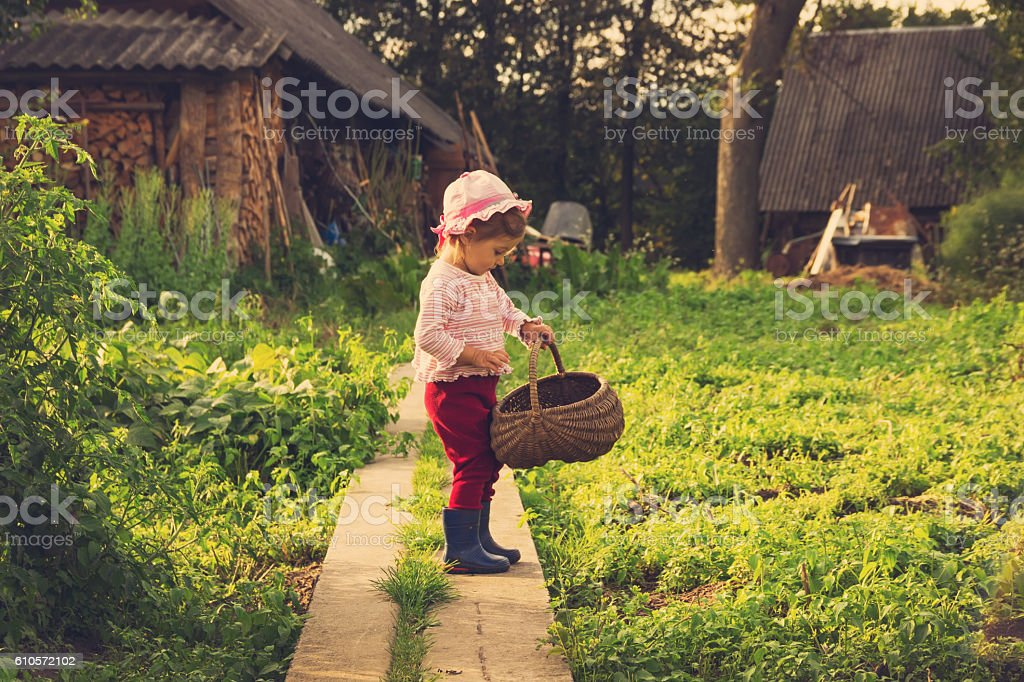 vintage portrait of  kid with big basket playing at countryside stock photo