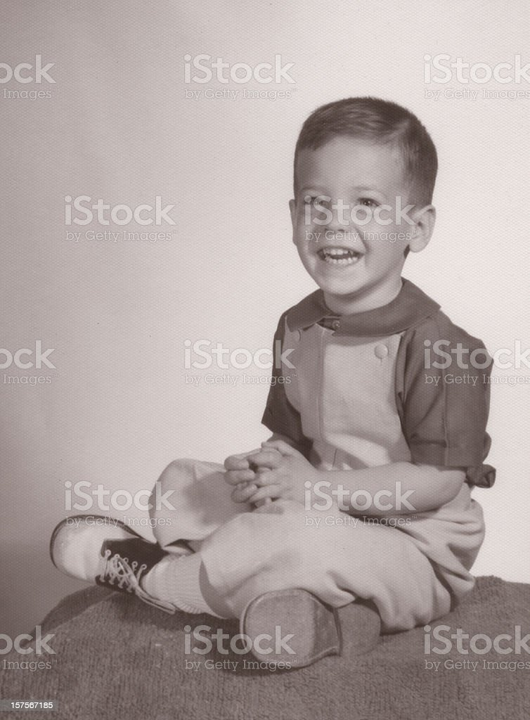 Vintage Portrait of Young Boy stock photo