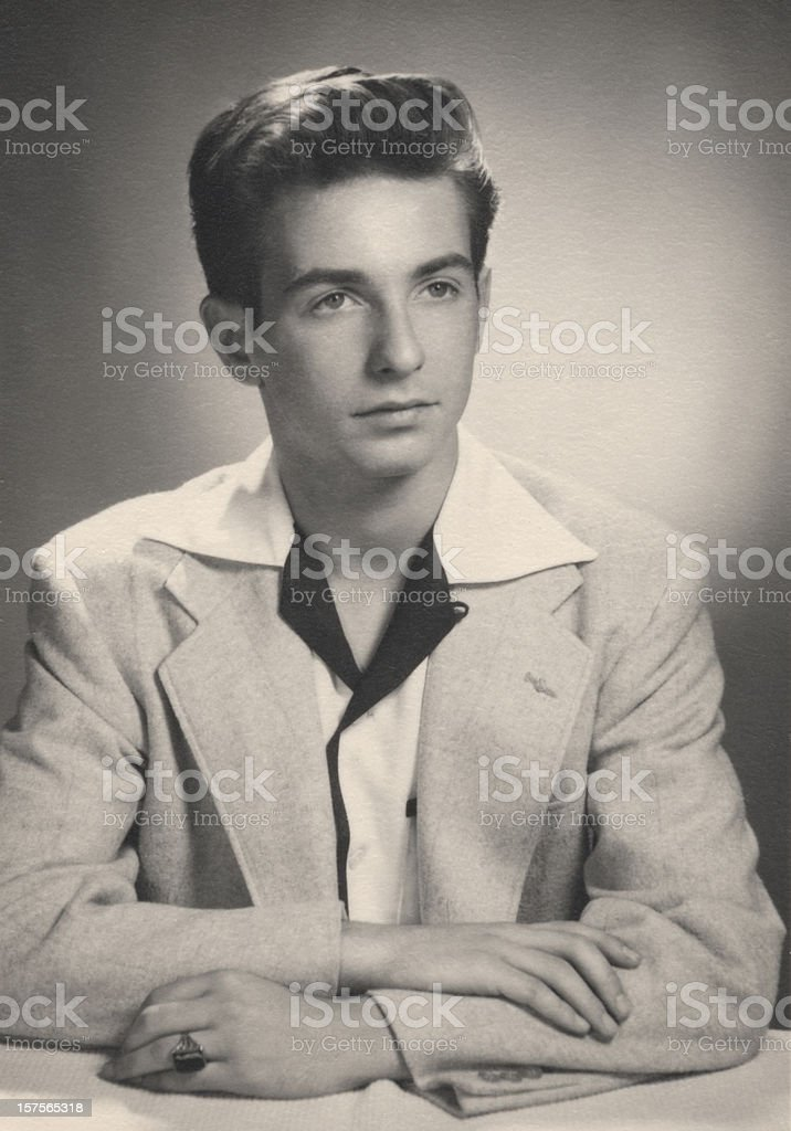 Vintage Portrait of Young Man stock photo