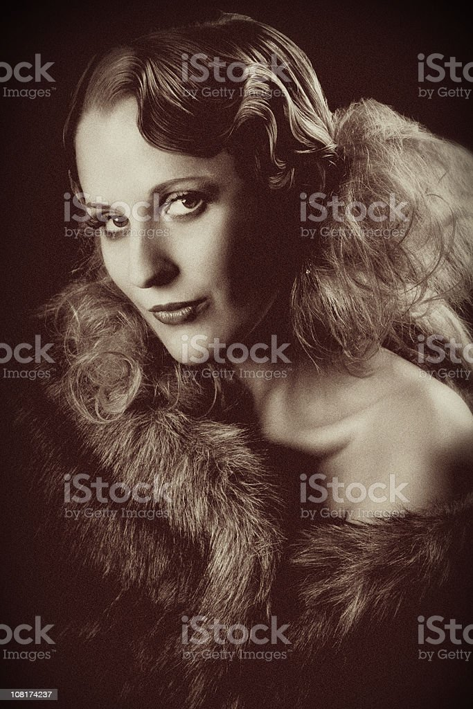 Vintage Portrait of Young Woman royalty-free stock photo