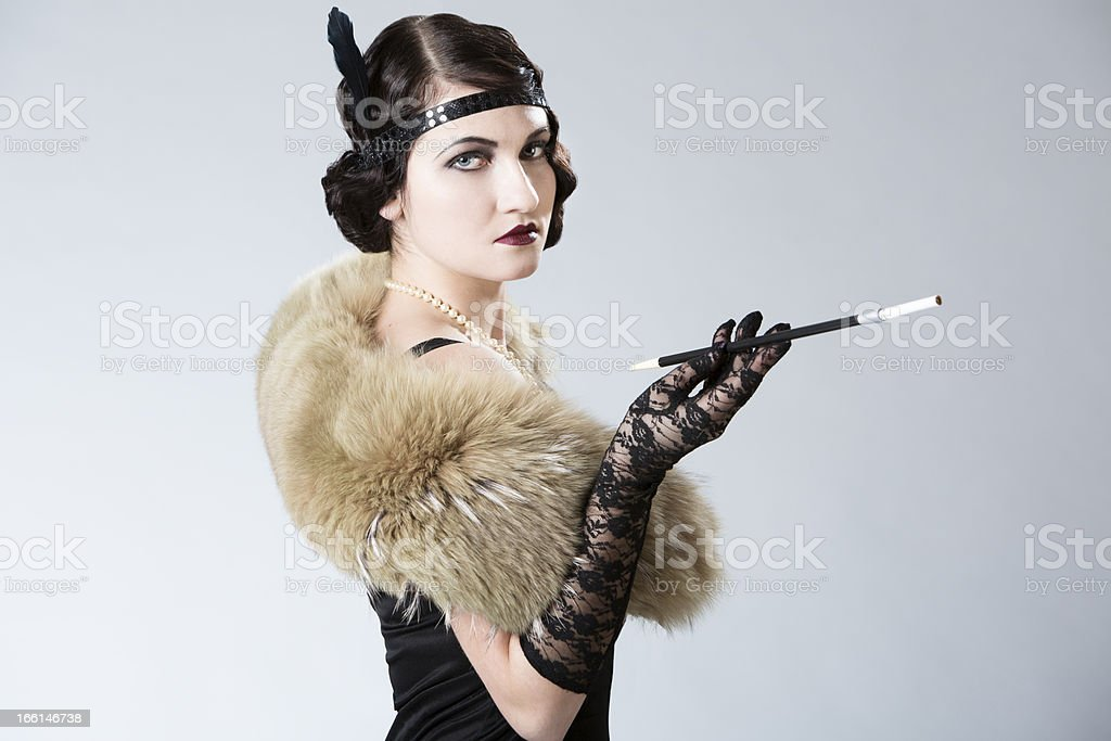 Vintage Portrait of Young Woman stock photo