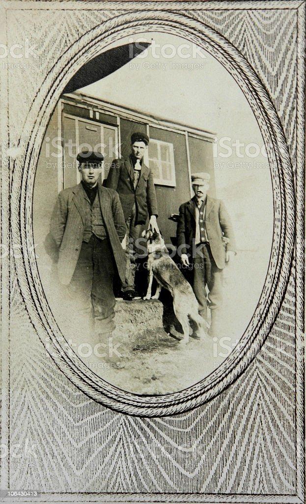 vintage portrait railroad workers stock photo