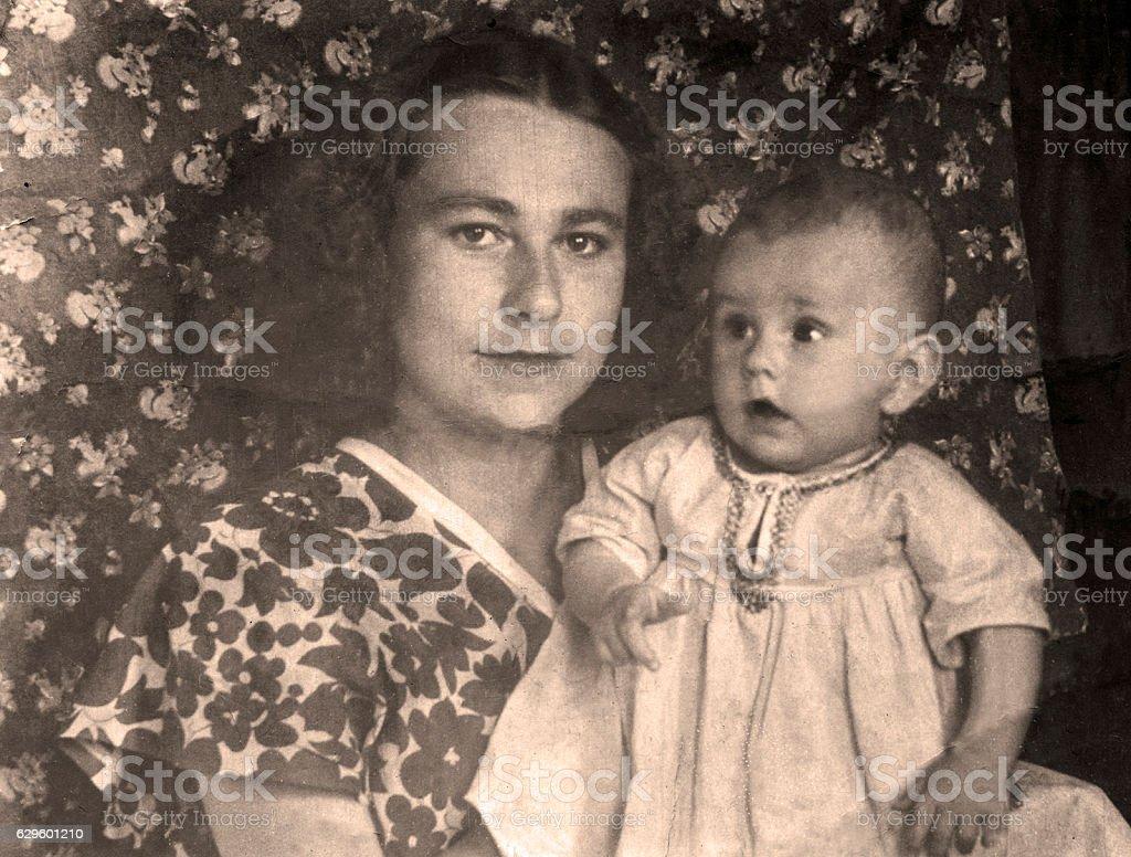 Vintage portrait,1951 year. stock photo