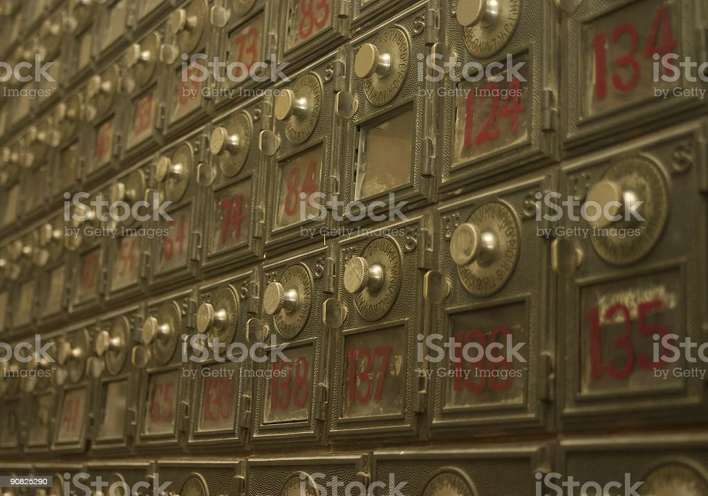 Vintage Post Office Boxes stock photo