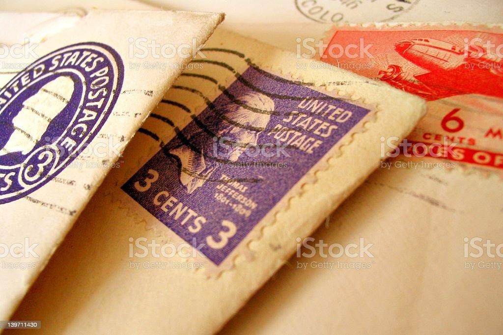 Vintage postage on mail stock photo