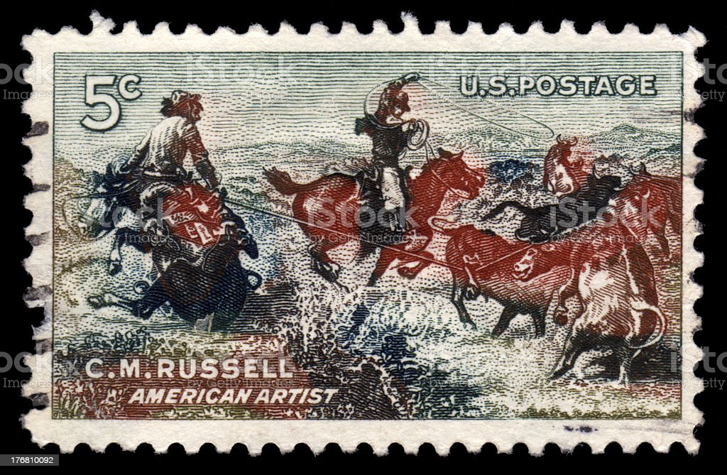 USA vintage postage stamp C M Russel royalty-free stock photo