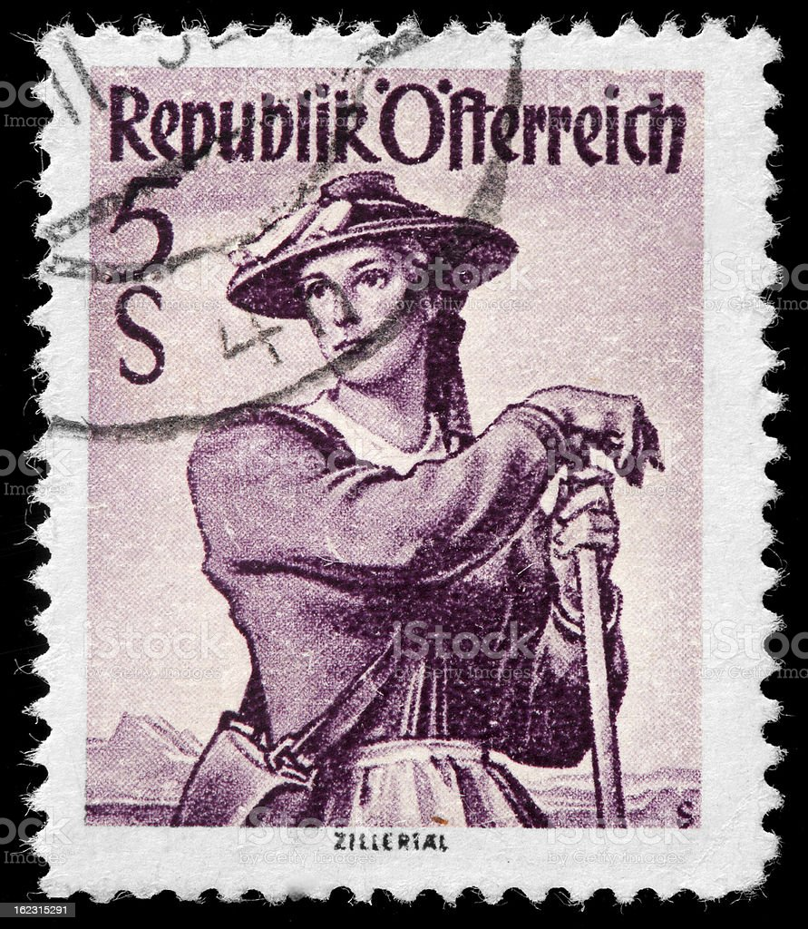 Vintage Postage Stamp featuring Woman from Zillertal stock photo