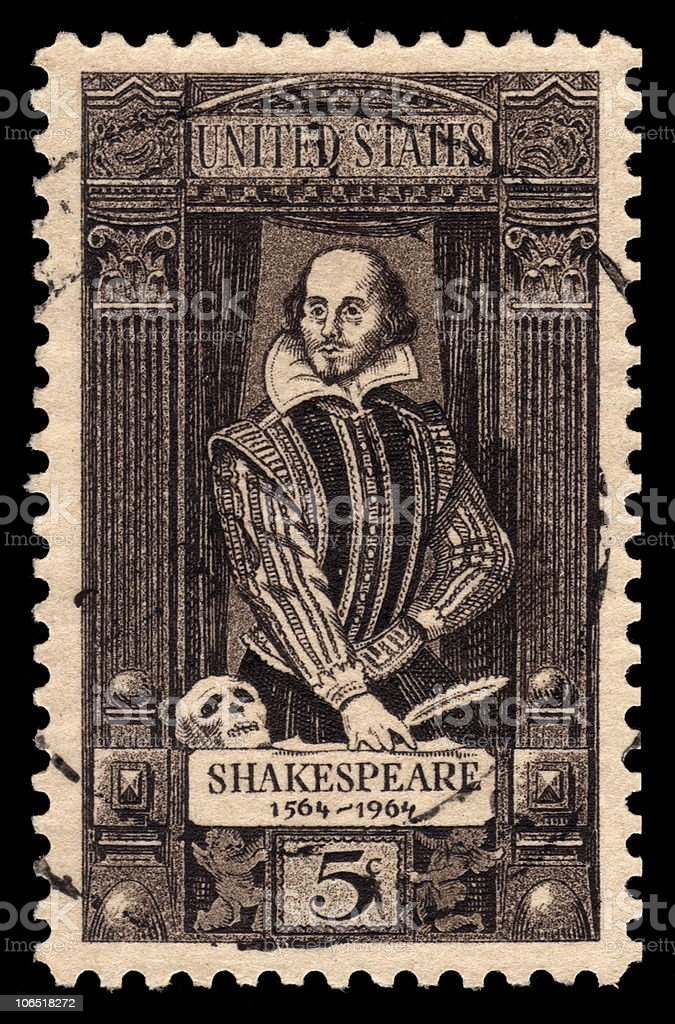 USA Vintage Postage Stamp Of William Shakespeare royalty-free stock photo