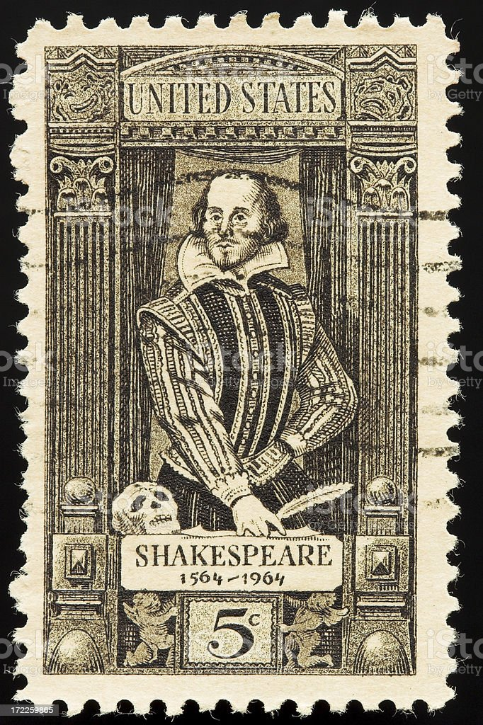 Vintage postage stamp with Shakespeare royalty-free stock photo