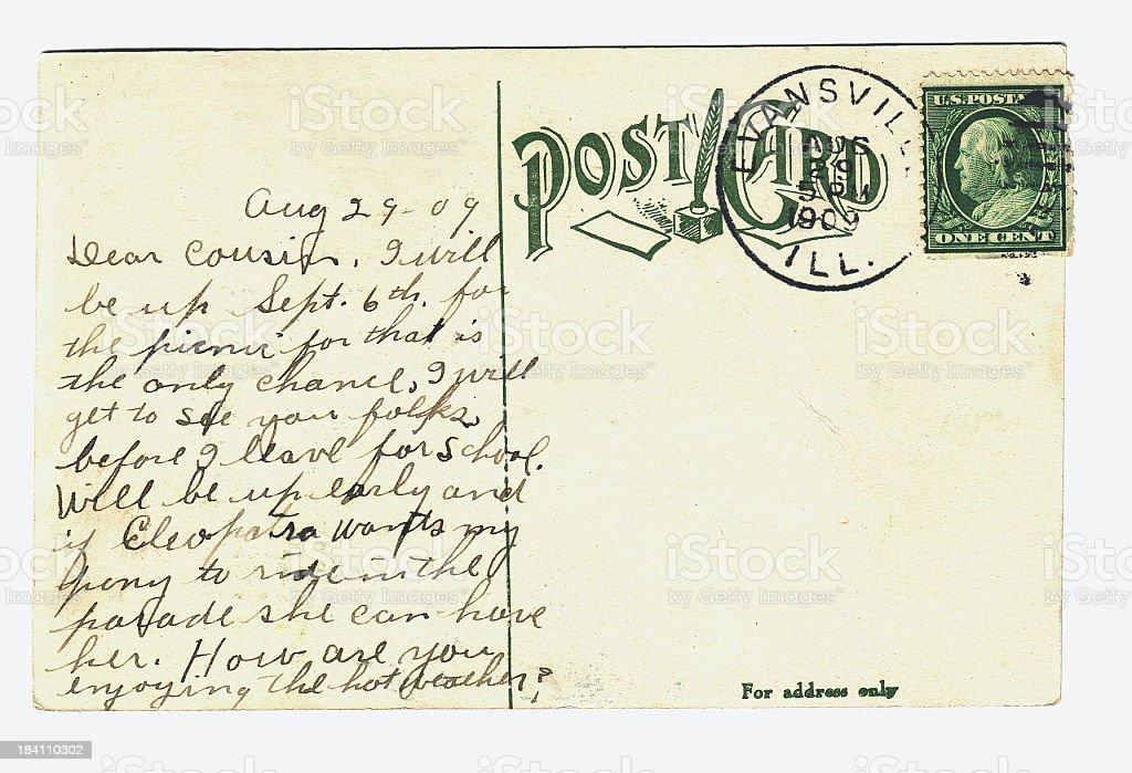 Vintage Postcard 1909 stock photo
