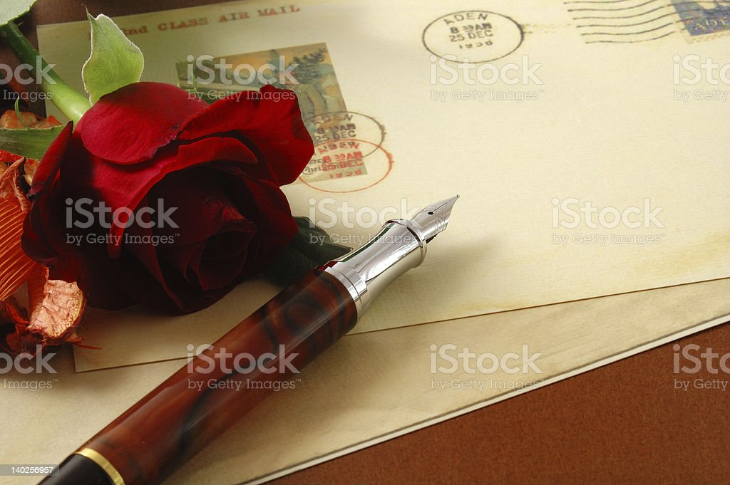 vintage postcard and red rose 2 royalty-free stock photo