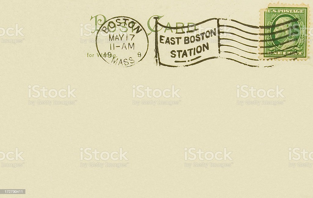 Vintage Postcard Back 1909 East Boston Station Postmark stock photo