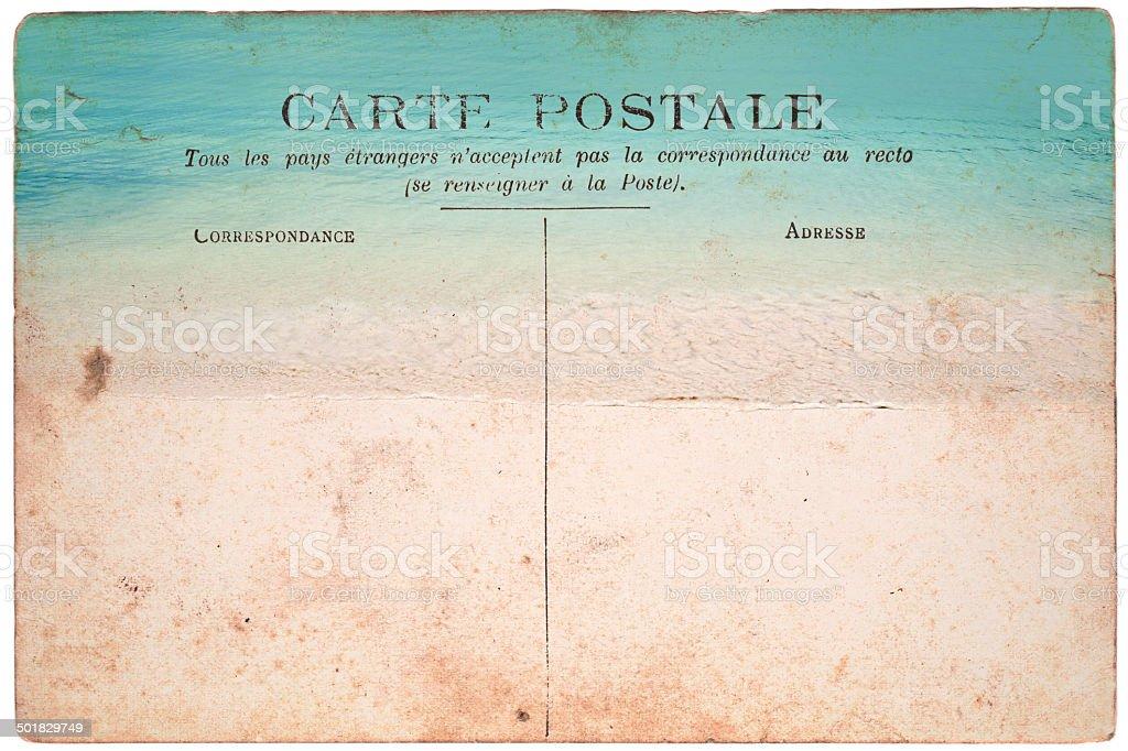 Vintage postcard, beach background stock photo
