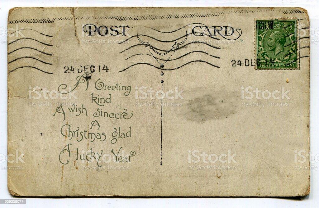Cartolina d'epoca dal 1914 su bianco foto stock royalty-free