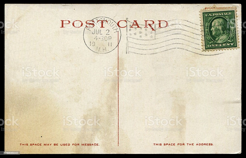 vintage postcard from America stock photo