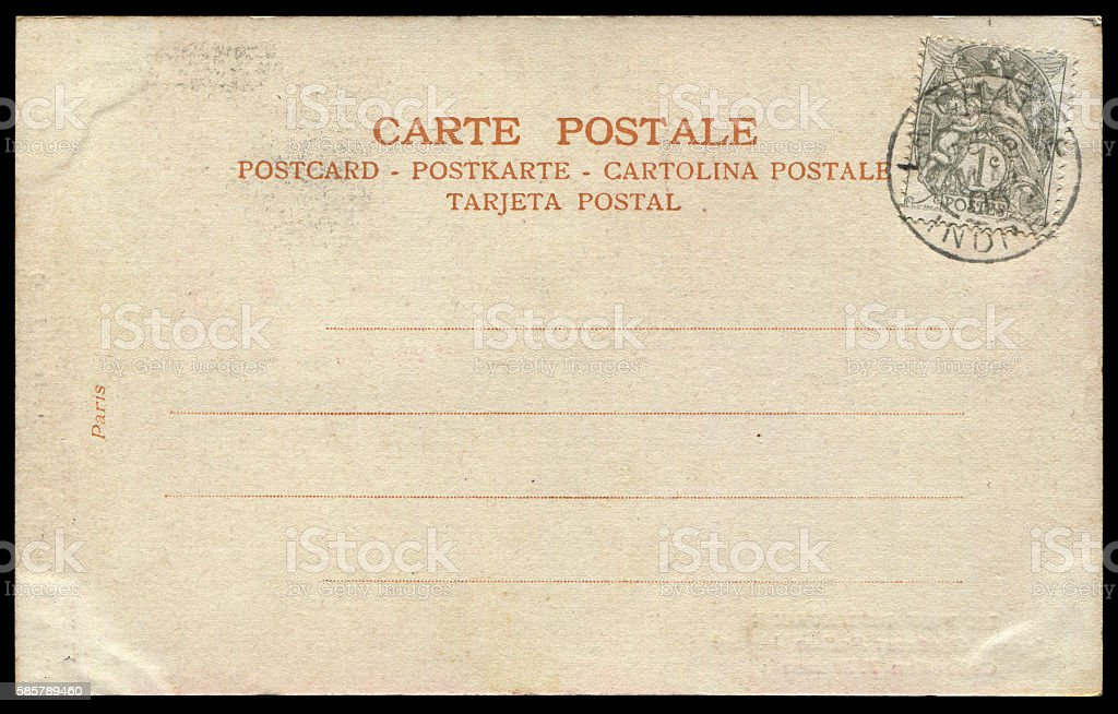 vintage postcard  from France in early 1900s. stock photo