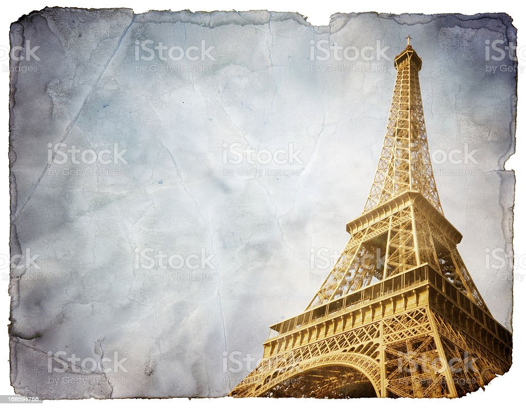 Vintage Postcard from Paris (includes Clipping Path) royalty-free stock photo