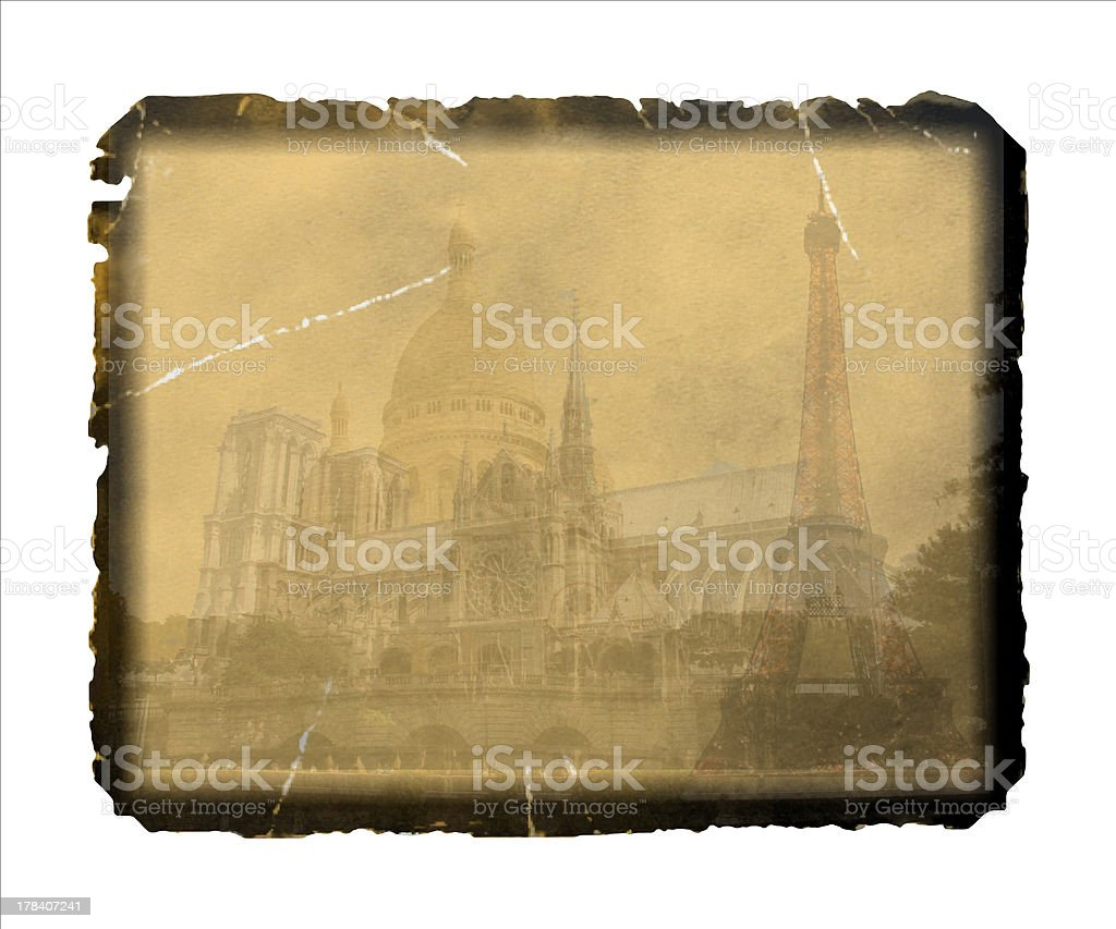 Vintage Postcard from Paris royalty-free stock photo