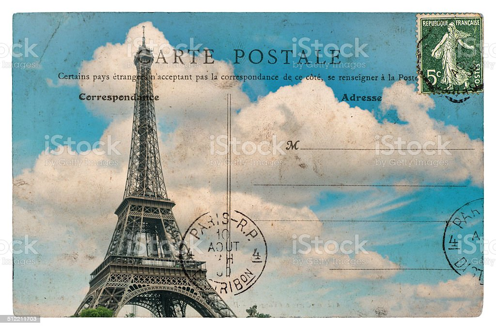 vintage postcard from paris with eiffel tower over blue sky stock photo