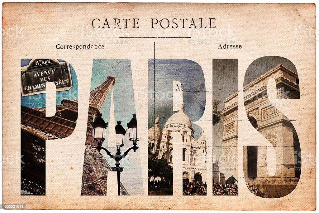 Vintage postcard, letters PARIS stock photo