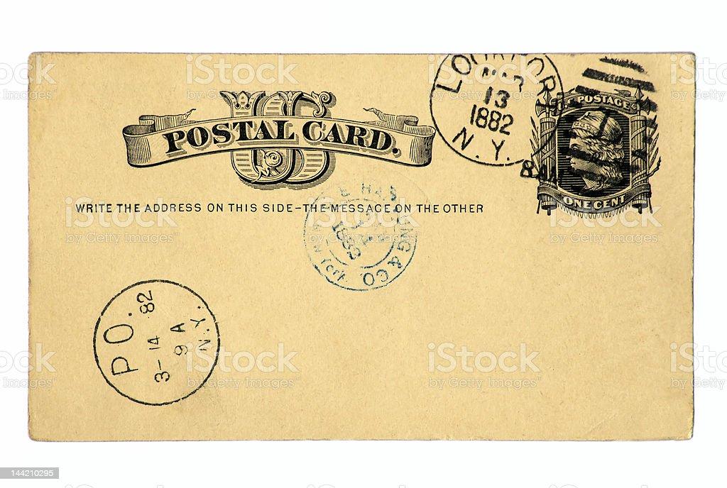 Vintage Postcard of 1882 royalty-free stock photo