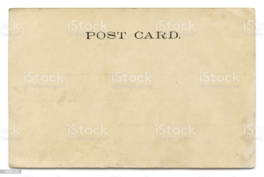 Vintage postcard on white royalty-free stock photo