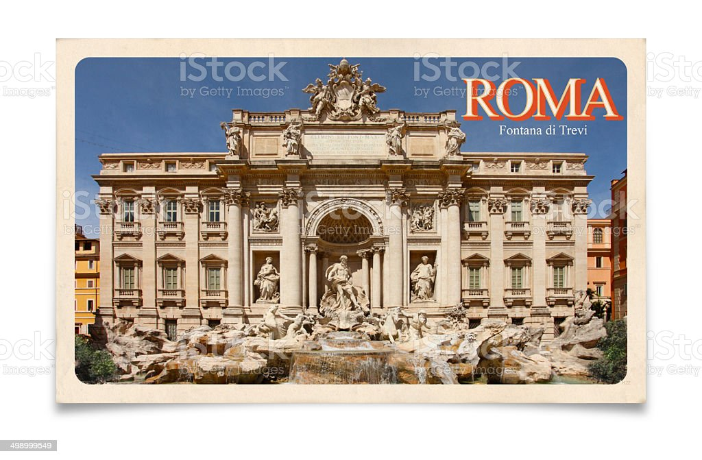 Vintage postcard: Rome, Italy, Trevi Fountain stock photo