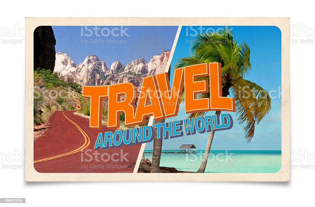 Vintage postcard: Travel around the world stock photo
