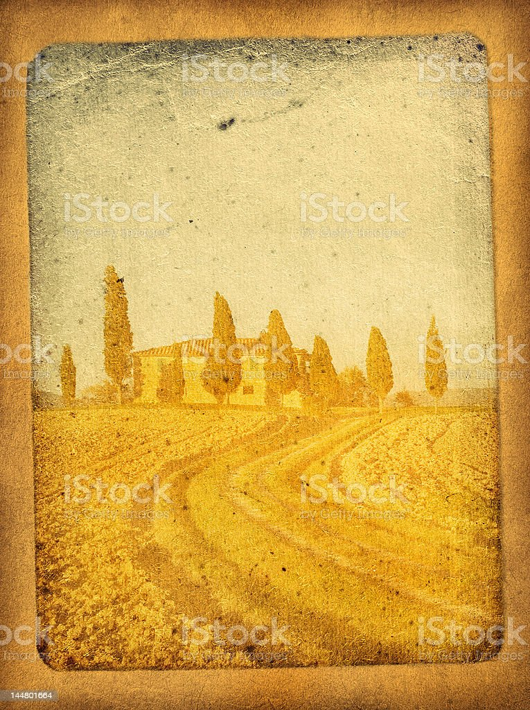 vintage postcard with classical tuscan view royalty-free stock photo