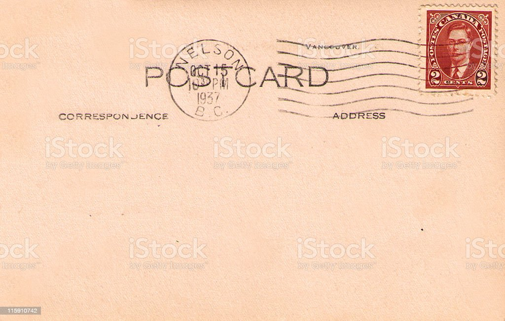 Vintage Postcard with Stamp and Copy Space royalty-free stock photo