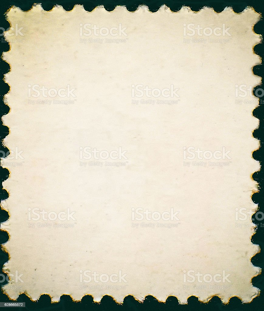Vintage posted stamp reverse  side isolated on black background stock photo