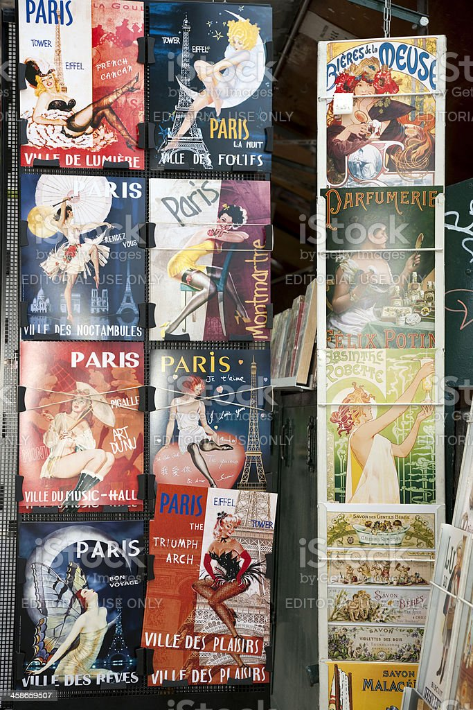 Vintage Posters and Advertisements for Sale at Traditional Bookstall, Paris royalty-free stock photo