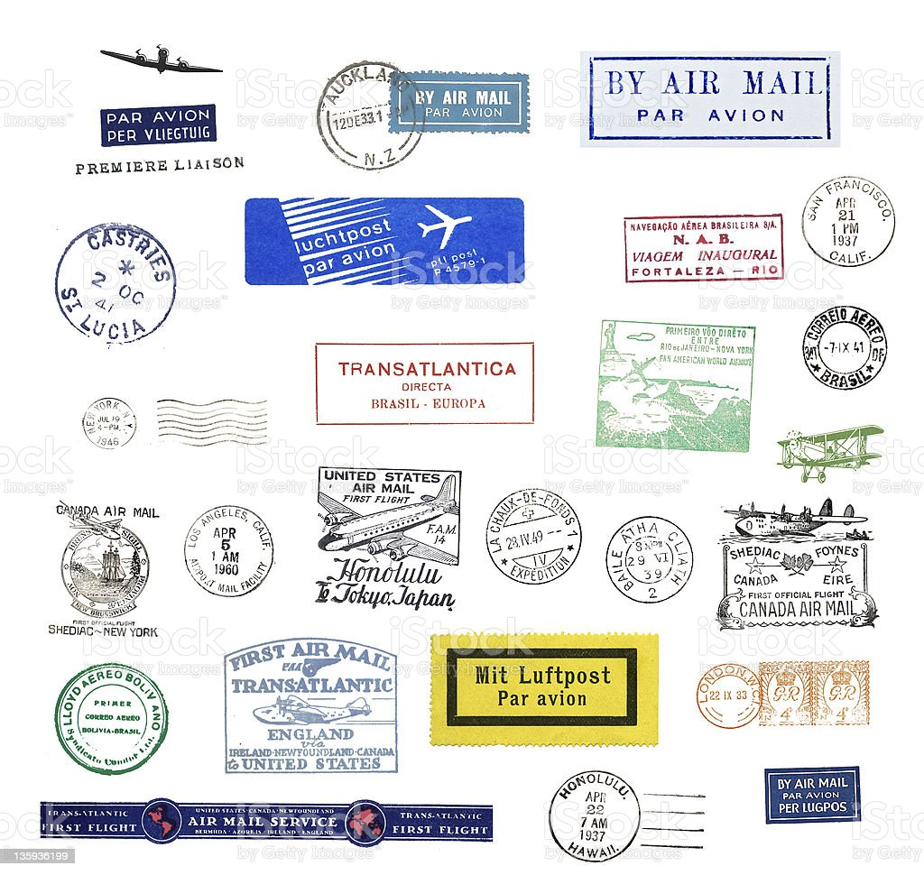 Vintage postmarks stock photo
