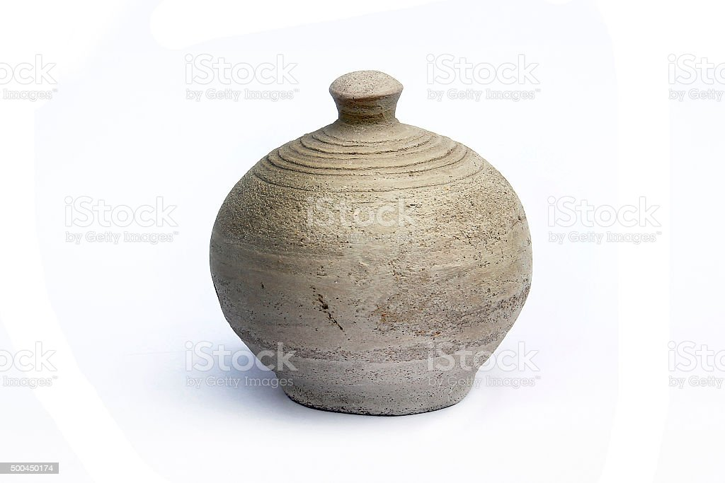 Vintage Pottery isolated over a white background stock photo