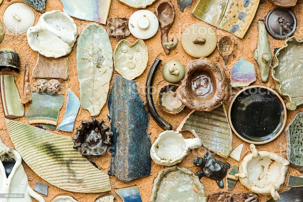 Vintage Pottery with texture background stock photo