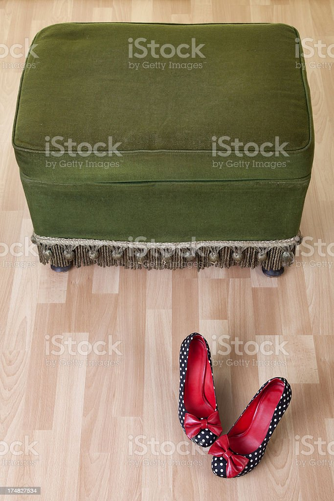 vintage pouffe withhihg heel shoes royalty-free stock photo