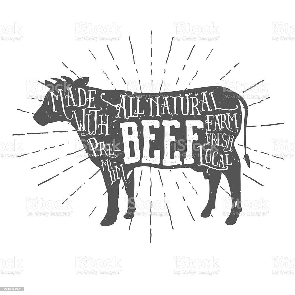 Vintage premium beef typographic label stock photo