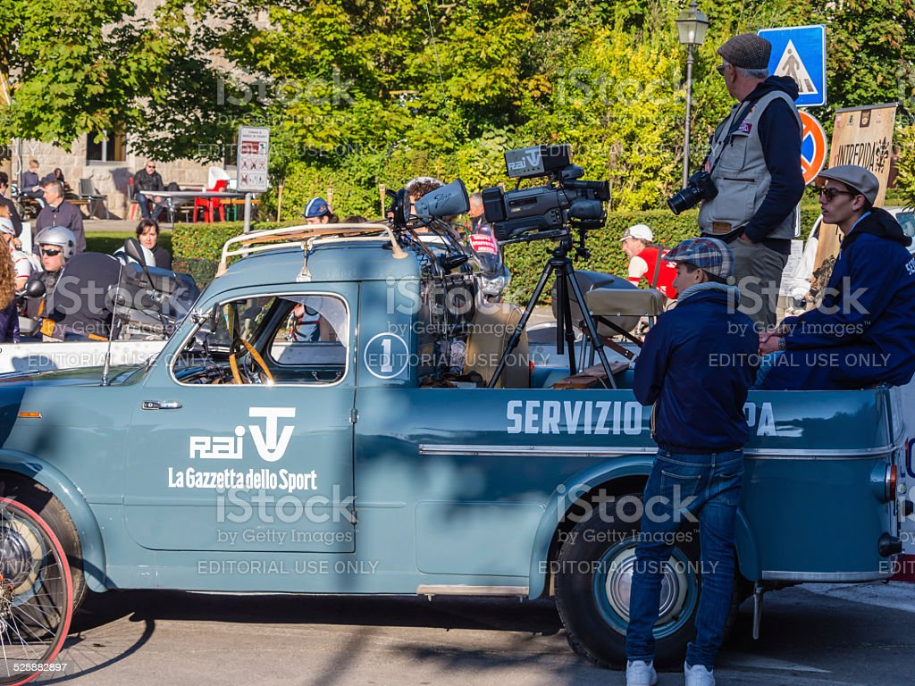 Vintage press car at L'Eroica, Italy stock photo