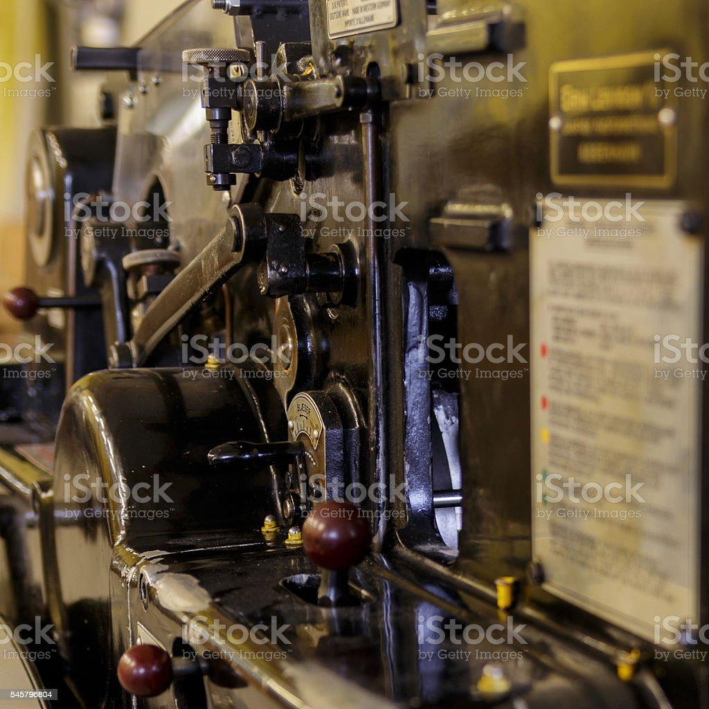 Vintage press machine stock photo