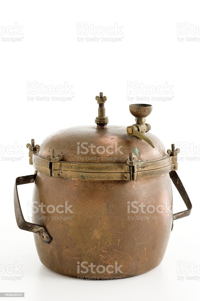 vintage pressure cooker stock photo