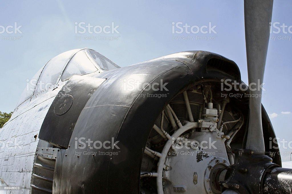 vintage propeller figher plane engine royalty-free stock photo