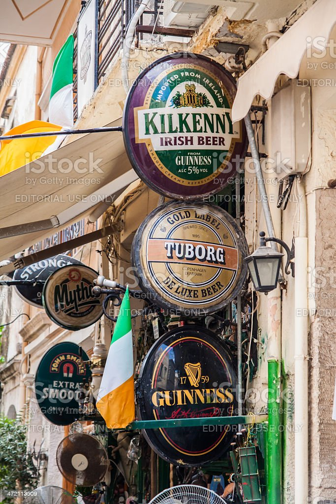 Vintage pub in Rethymnon, Crete, Greece stock photo
