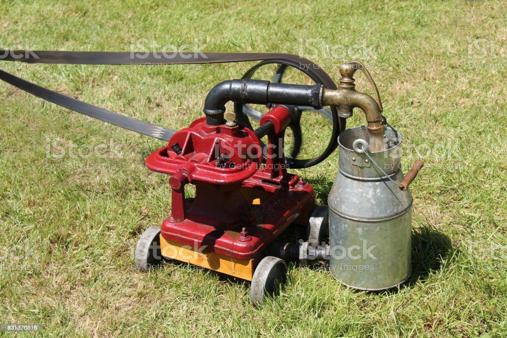 Vintage Pump and Flywheel. stock photo