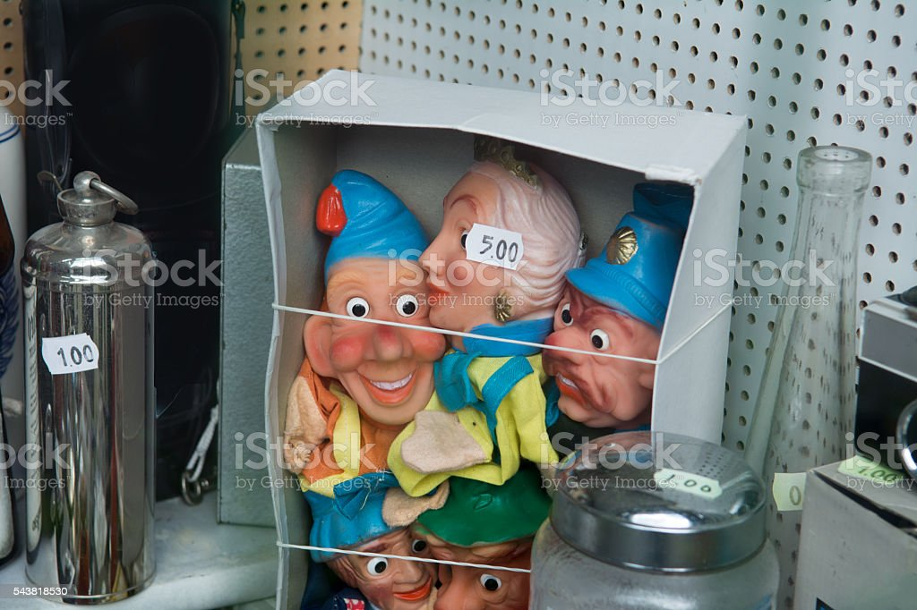 vintage punch and judy on car boot sale stock photo