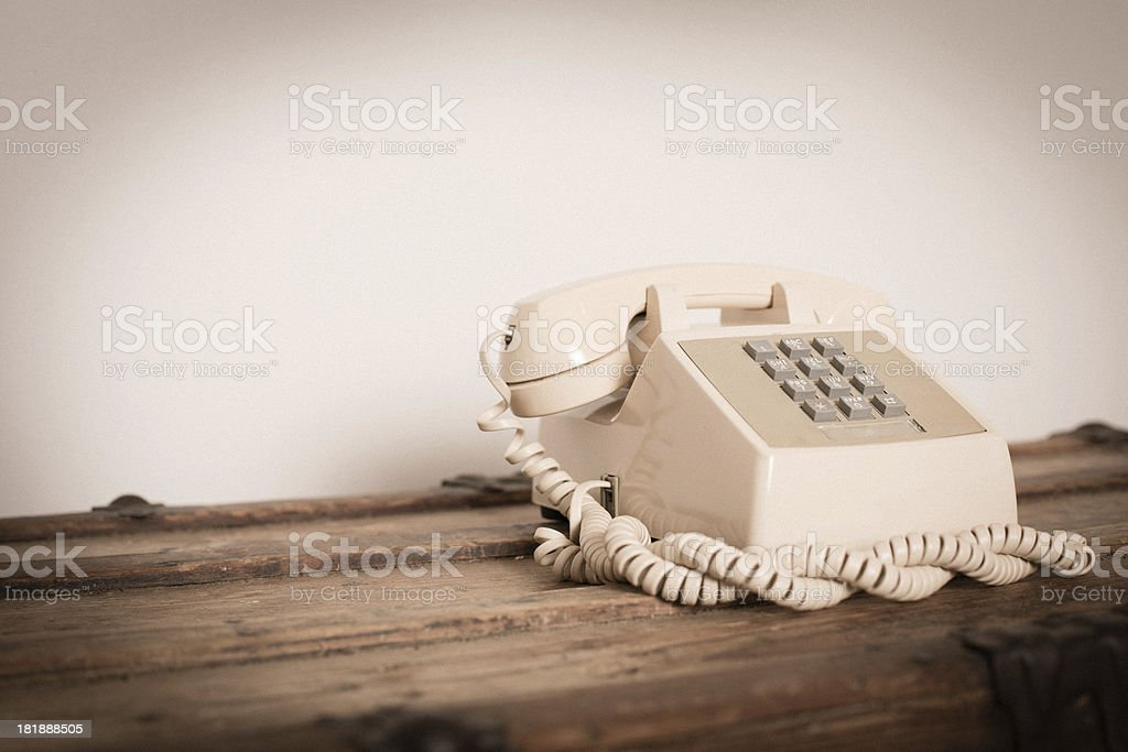 Vintage Push Button Telephone, With Copy Space royalty-free stock photo