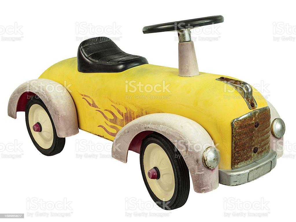 Vintage push car toy isolated on white stock photo