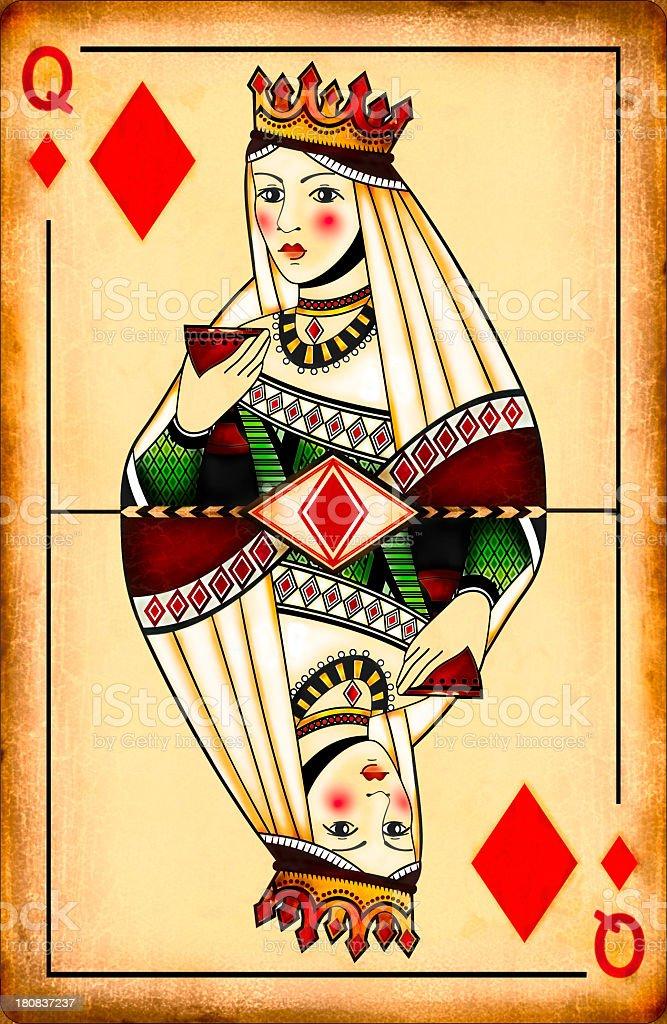 Vintage Queen of diamonds stock photo