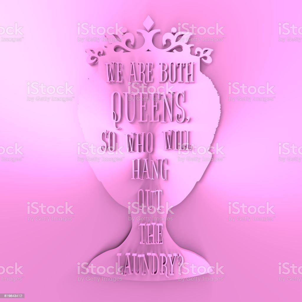 Vintage queen silhouette. Motivation quote stock photo