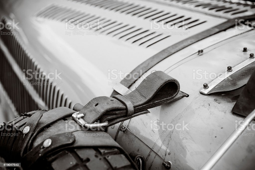 Vintage race car detail in black and white stock photo
