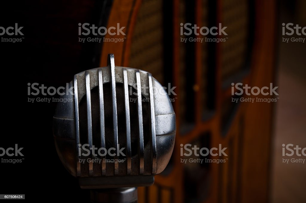 Vintage Radio and Microphone stock photo